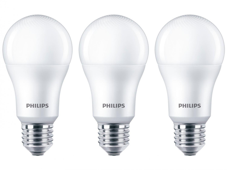 Kit Lâmpadas LED 3 Unidades Branca E27 9W - 6500WK Philips Bulbo