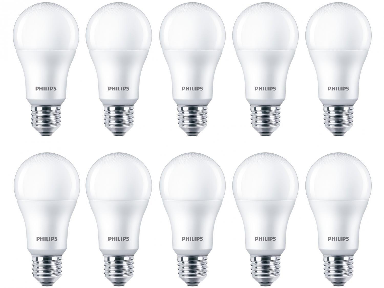 Kit Lâmpadas LED 10 Unidades Branca E27 7W - 6500K Philips Bulbo