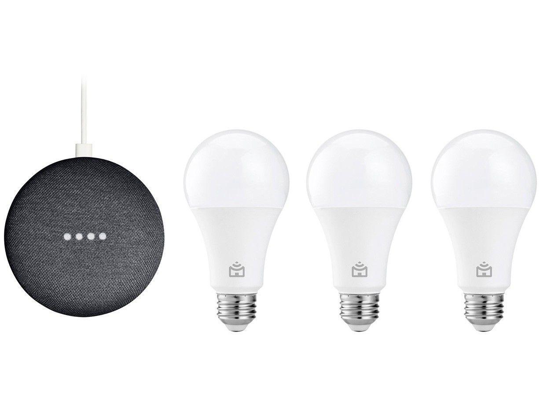 Smart Speaker Google Nest Mini 2ª Geração - com 3 Unidades de Lâmpada Inteligente Positivo