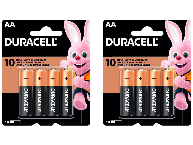 Kit com 8 Unidades de Pilha Alcalina AA Duracell