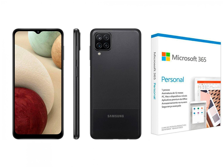 """Smartphone Samsung Galaxy A12 64GB Preto 4G - 4GB RAM 6,5"""" + Microsoft 365 Personal 1TB One"""