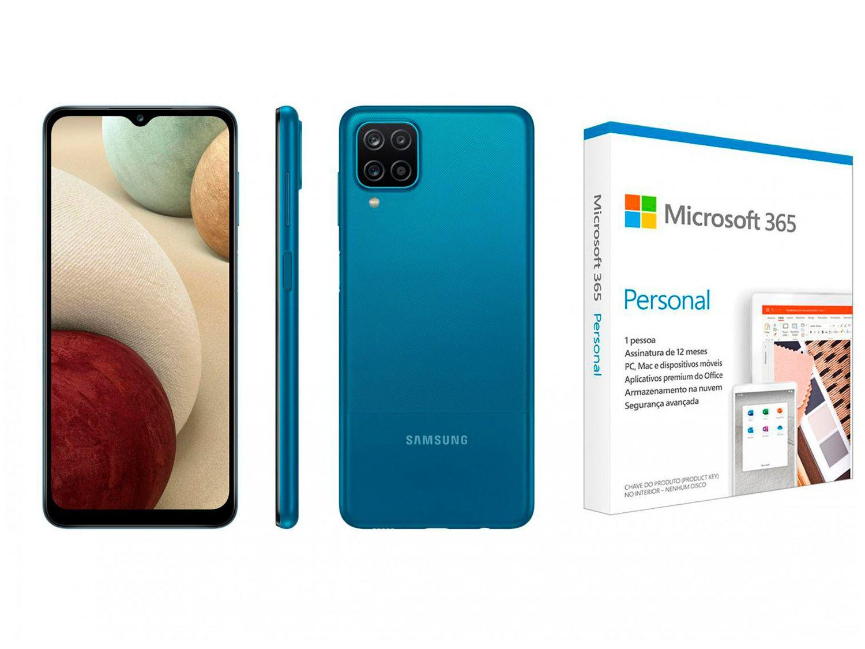 """Smartphone Samsung Galaxy A12 64GB Azul 4G - 4GB RAM 6,5"""" + Microsoft 365 Personal 1TB One"""