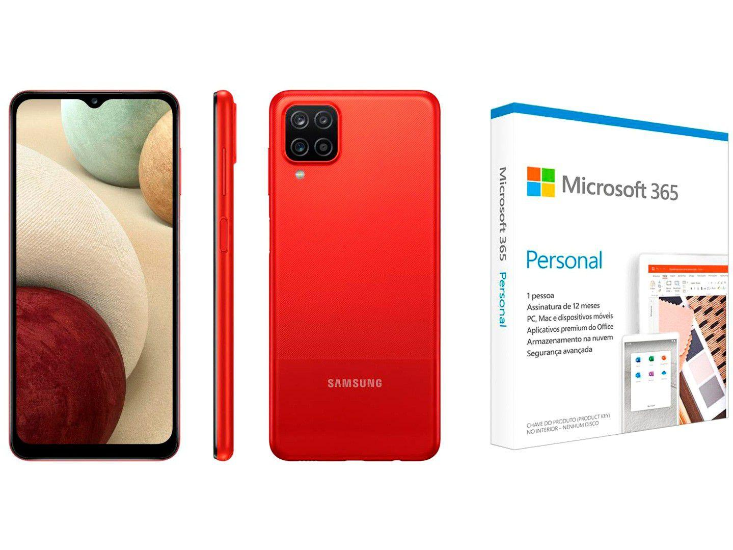 "Smartphone Samsung Galaxy A12 64GB Vermelho 4G - 4GB RAM 6,5"" + Microsoft 365 Personal 1TB One"