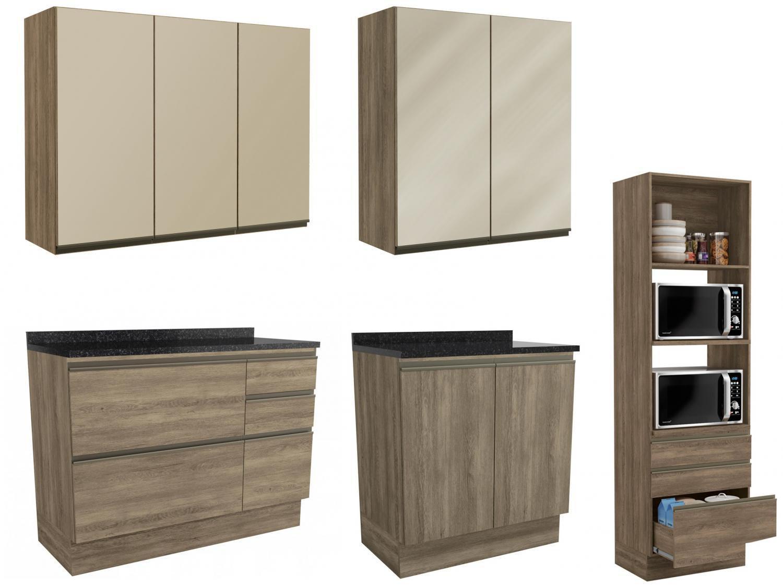 Cozinha Completa Kappesberg Maxxi 5 peças c Balcão - Nicho para Micro-ondas 9 Portas 7 Gavetas