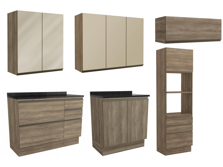 Cozinha Completa Kappesberg Maxxi 6 peças c Balcão - Nicho para Micro-ondas 10 Portas 7 Gavetas