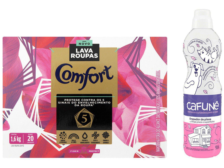 Kit Sabão em Pó Comfort Fiber Protect - 1,6kg + Limpa Piso Cafuné Rosas e Lichia 900ml