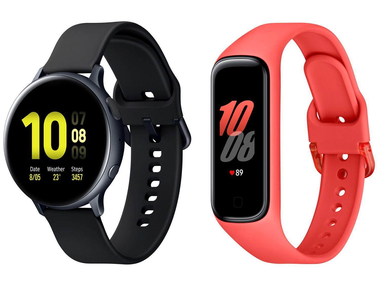 Smartwatch Samsung Galaxy Watch Active2 Preto - 44mm 4GB + Smartband Galaxy Fit2 Vermelho
