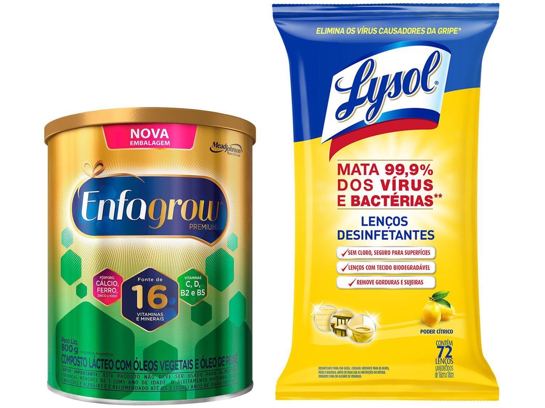 Kit Composto Lácteo Enfagrow - 800g + Lenços Desinfetantes Lysol 72 Unidades