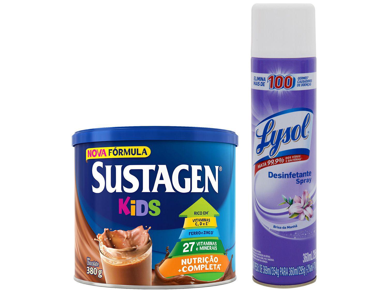 Kit Complemento Alimentar Infantil Sustagen Kids - Chocolate 380g + Desinfetante Lysol 360ml