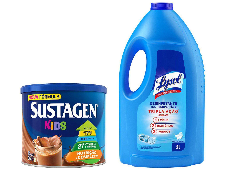 Kit Complemento Alimentar Infantil Sustagen Kids - Chocolate 380g + Desinfetante Lysol 3L