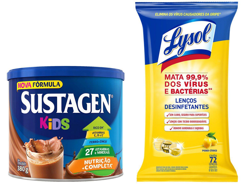 Kit Complemento Alimentar Infantil Sustagen Kids - Chocolate 380g + Lenço Desinfetante Lysol