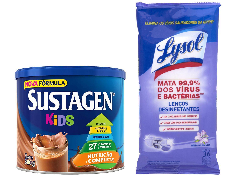 Kit Complemento Alimentar Infantil Sustagen Kids - Chocolate 380g + Lenços Desinfetantes Lysol