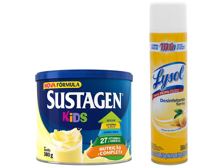 Kit Complemento Alimentar Infantil Sustagen Kids - Baunilha 380g + Desinfetante Lysol 360ml