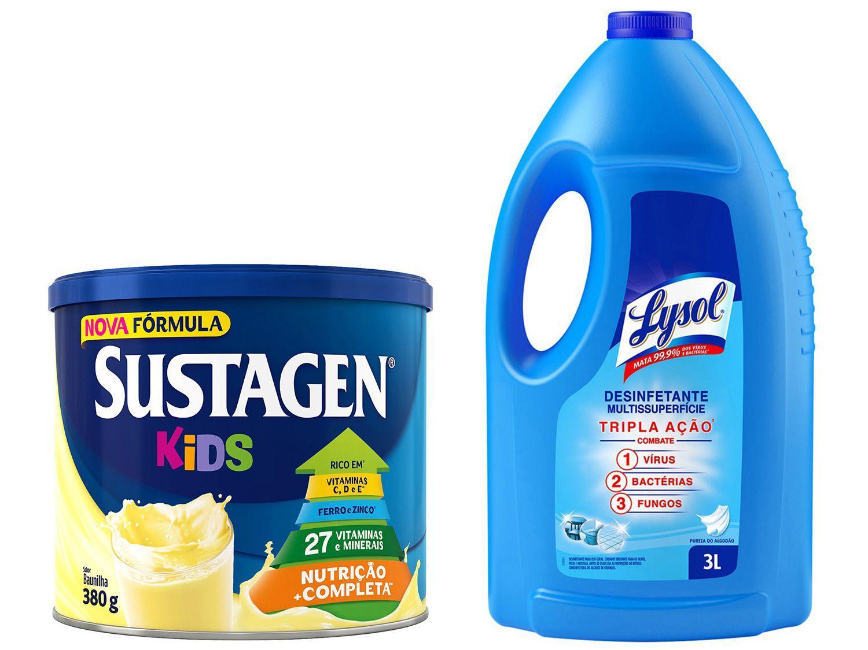 Kit Complemento Alimentar Infantil Sustagen Kids - Baunilha 380g + Desinfetante Lysol 3L