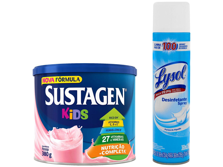 Kit Complemento Alimentar Infantil Sustagen Kids - Morango 380g + Desinfetante Lysol 360ml