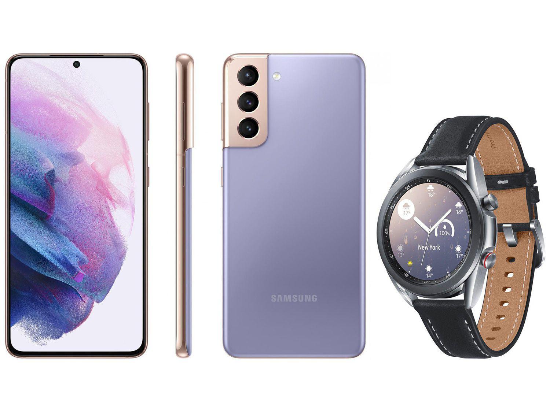 Smartphone Samsung Galaxy S21 128GB Violeta 5G - 8GB RAM + Smartwatch Galaxy Watch 3 LTE Prata