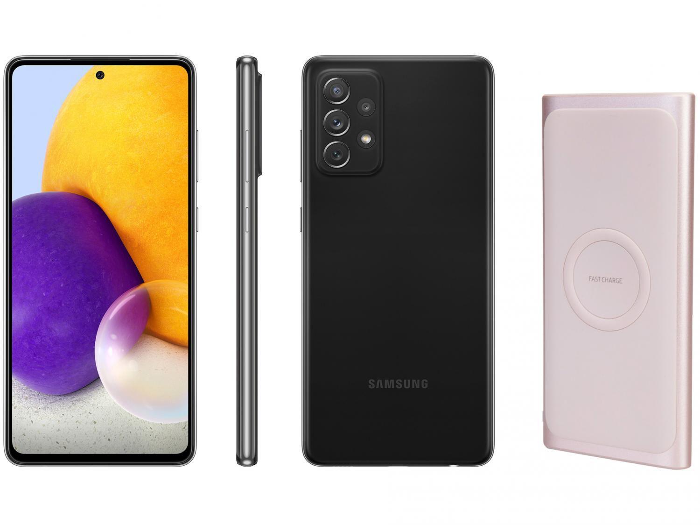 Smartphone Samsung Galaxy A72 128GB Preto 4G - 6GB RAM + Carregador Portátil sem Fio 10000mAh