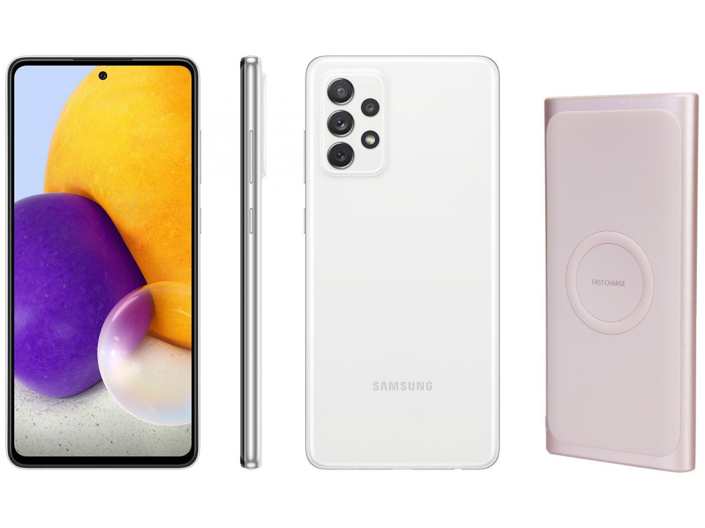 Smartphone Samsung Galaxy A72 128GB Branco 4G - 6GB RAM + Carregador Portátil sem Fio 10000mAh