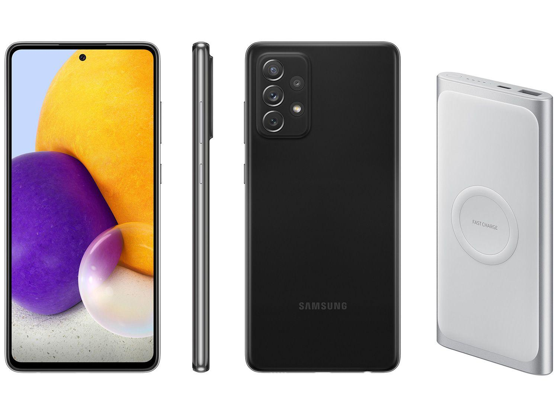 Smartphone Samsung Galaxy A72 128GB Preto 4G - 6GB RAM + Carregador Portátil 10000mAh