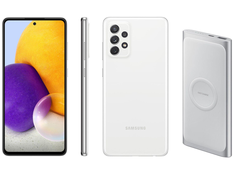 Smartphone Samsung Galaxy A72 128GB Branco 4G - 6GB RAM + Carregador Portátil 10000mAh