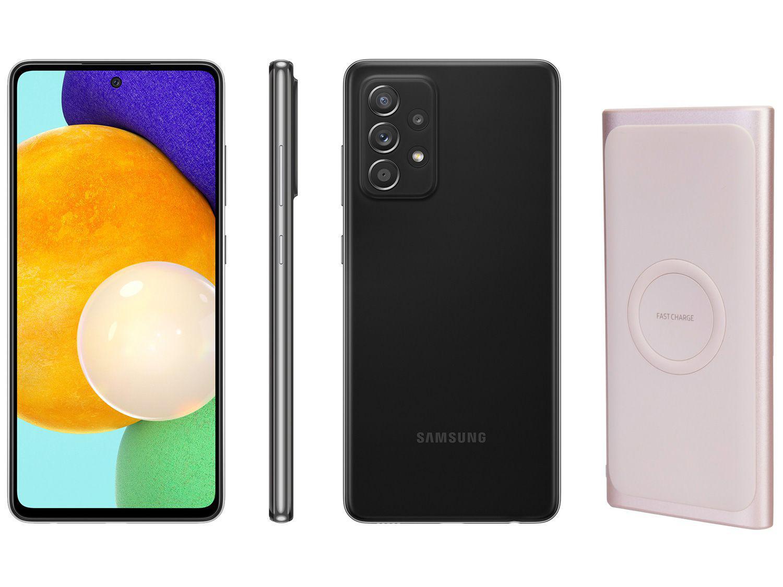 Smartphone Samsung Galaxy A52 128GB Preto 4G - 6GB RAM + Carregador Portátil sem Fio 10000mAh