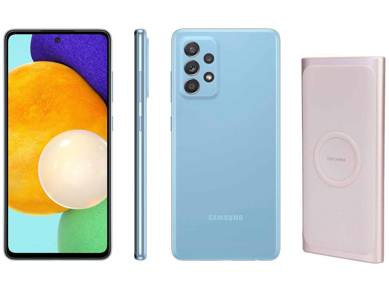 Smartphone Samsung Galaxy A52 128GB Azul 4G - 6GB RAM + Carregador Portátil sem Fio 10000mAh