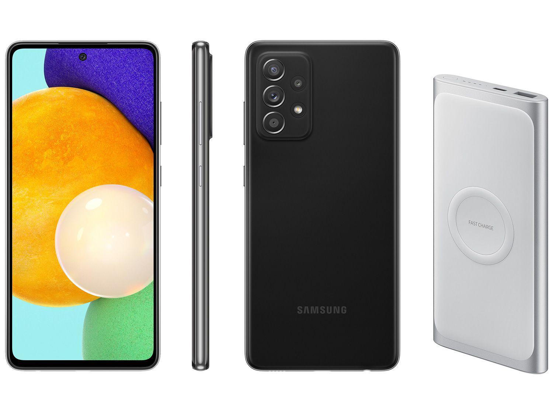 Smartphone Samsung Galaxy A52 128GB Preto 4G - 6GB RAM + Carregador Portátil 10000mAh