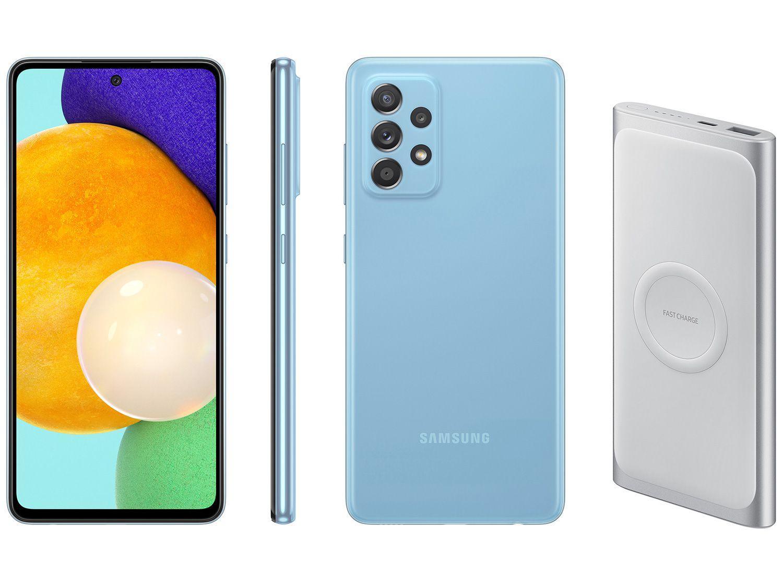 Smartphone Samsung Galaxy A52 128GB Azul 4G - 6GB RAM + Carregador Portátil 10000mAh