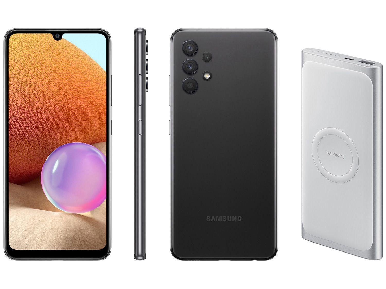 Smartphone Samsung Galaxy A32 128GB Preto 4G - 4GB RAM + Carregador Portátil 10000mAh