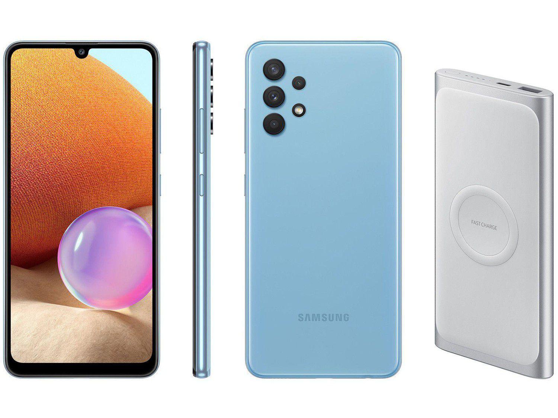 Smartphone Samsung Galaxy A32 Azul 4G - 4GB RAM + Carregador Portátil 10000mAh