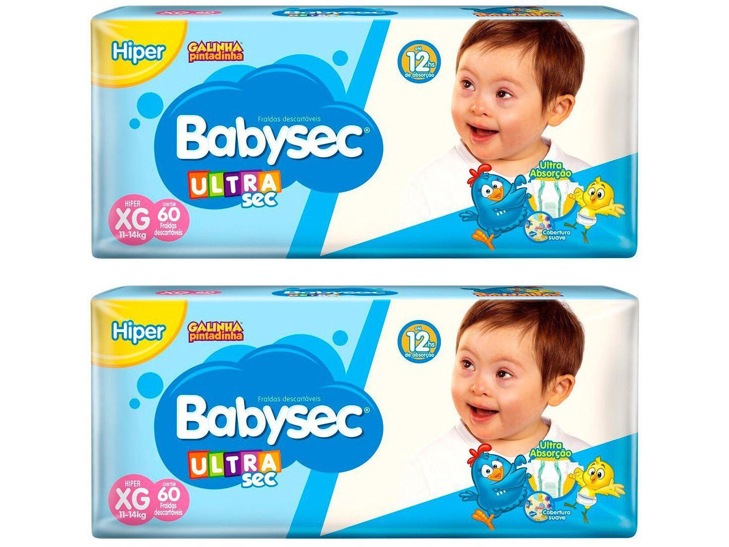 Kit Fraldas Babysec Ultrasec Galinha Pintadinha - Tam. XG 11 a 14kg 2 Pacotes com 60 Unidades Cada
