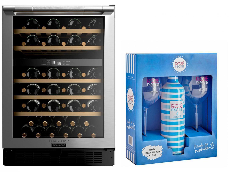 Adega Climatizada Brastemp 51 Garrafas - Gourmand + Vinho Rosé Meio Seco Piscine com Taça