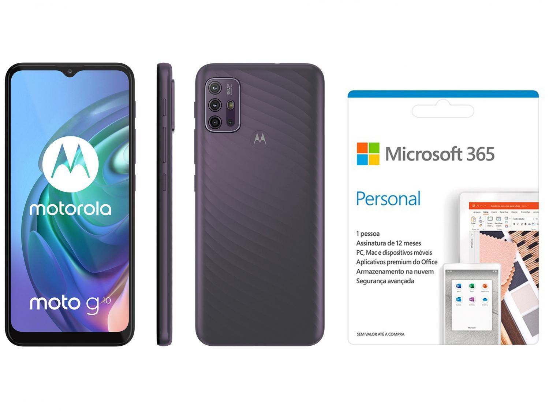 Smartphone Motorola Moto G10 64GB Cinza Aurora - 4G 4GB RAM + Microsoft 365 Personal 1TB OneDrive