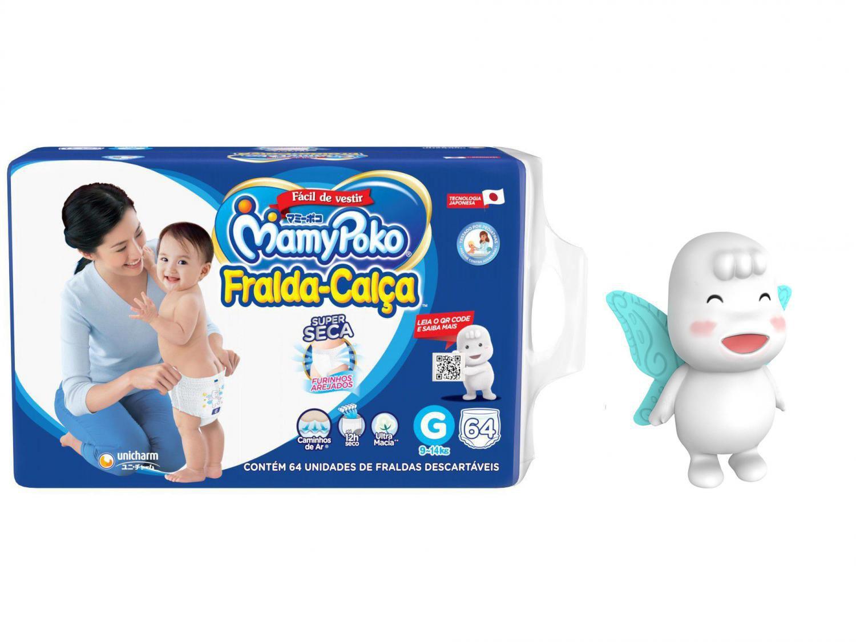 Fralda MamyPoko Super Calça Tam. G 9 a 14kg - 64 Unidades + Boneco Conto de Fadas Poko-Chan