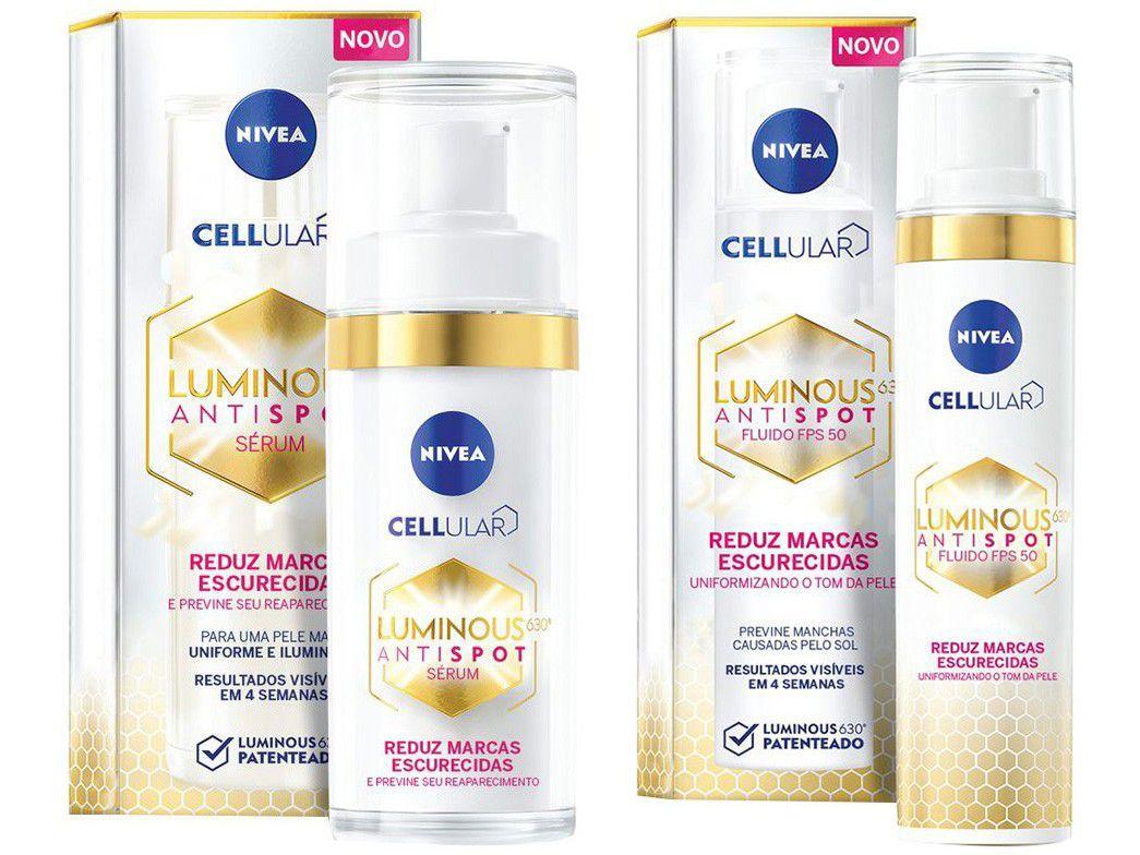Kit Creme Clareador Facial Nivea Cellular - Luminous + Fluido Antimanchas Luminous 630º