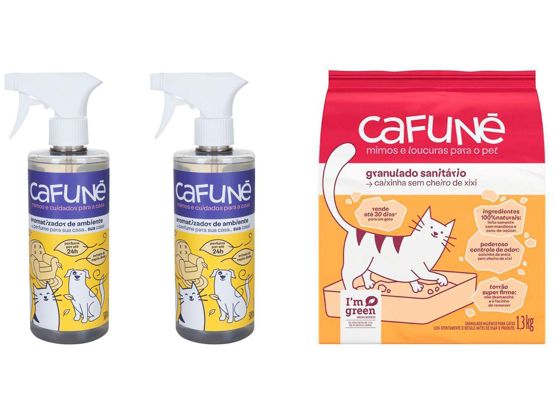 Kit Aromatizador de Ambiente Spray Cafuné - 500ml 2 Unidades + Areia para Gato Cafuné 1,3kg