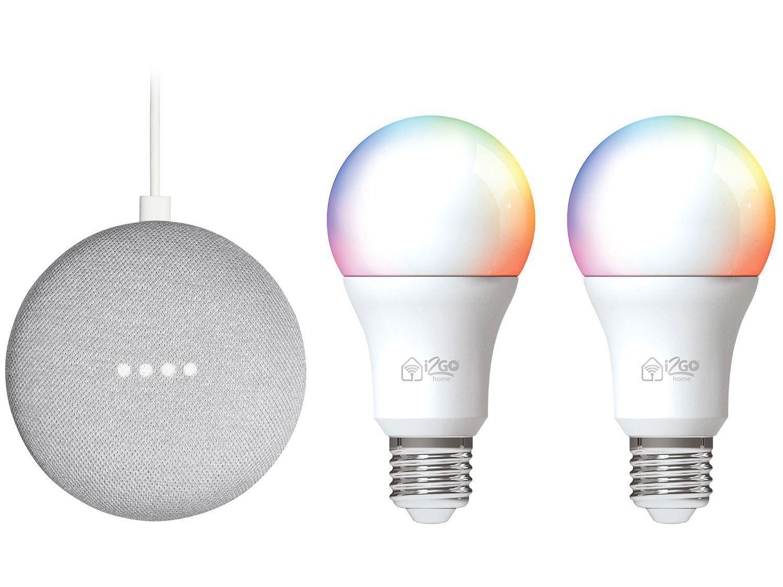 Kit Nest Mini 2ª geração Smart Speaker - com Google Assistente + 2 Lâmpadas Inteligentes