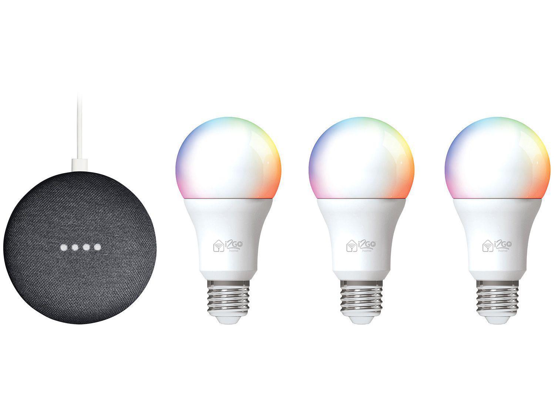 Kit Nest Mini 2ª geração Smart Speaker - com Google Assistente + 3 Lâmpadas Inteligentes