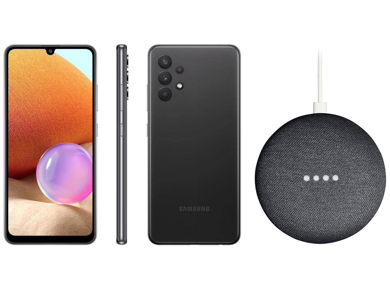 Smartphone Samsung Galaxy A32 128GB Preto 4G - 4GB RAM + Nest Mini 2ª geração Smart Speaker