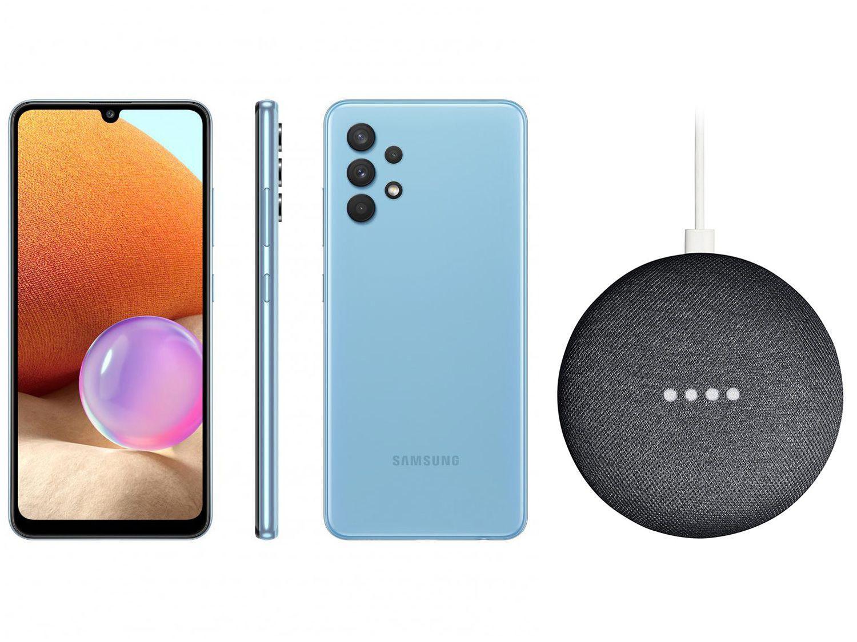 Smartphone Samsung Galaxy A32 128GB Azul 4G - 4GB RAM + Nest Mini 2ª geração Smart Speaker