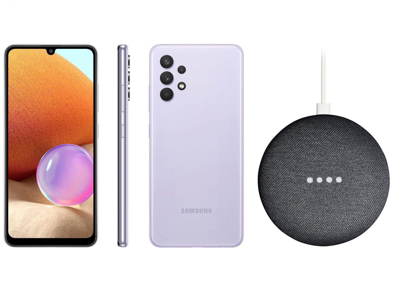 Smartphone Samsung Galaxy A32 128GB Violeta 4G - 4GB RAM + Nest Mini 2ª geração Smart Speaker