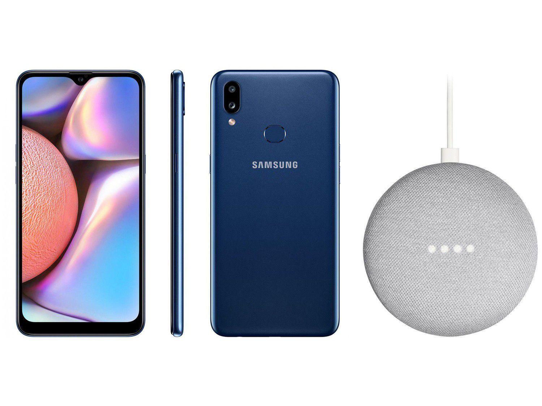 Smartphone Samsung Galaxy A10s 32GB Azul - 4G 2GB RAM + Nest Mini 2ª geração Smart Speaker