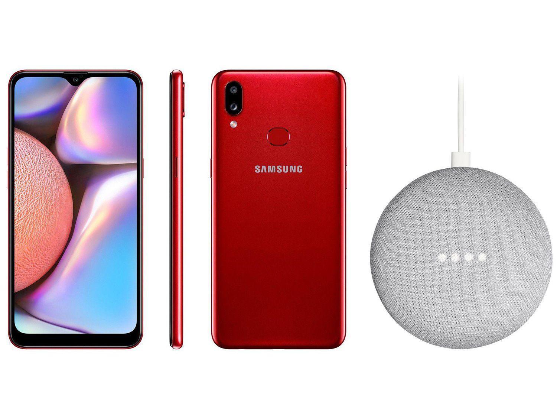 Smartphone Samsung Galaxy A10s 32GB Vermelho - 4G 2GB RAM + Nest Mini 2ª geração Smart Speaker