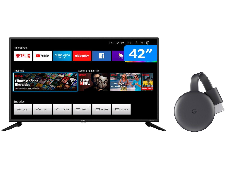 "Smart TV Full HD D-LED 42"" Britania BTV42G70N5CF - Wi-Fi + Chromecast 3 Streaming Device Google"