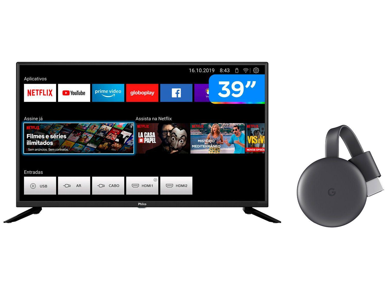 "Smart TV HD 39"" Philco PTV39G60S - Wi-Fi + Chromecast 3 Streaming Device Google"