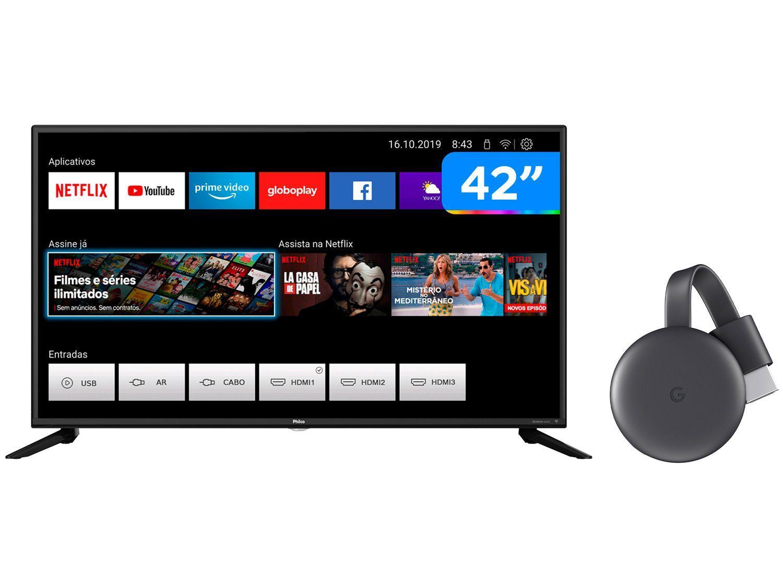"Smart TV Full HD D-LED 42"" Philco PTV42G70N5CF - Wi-Fi + Chromecast 3 Streaming Device Google"