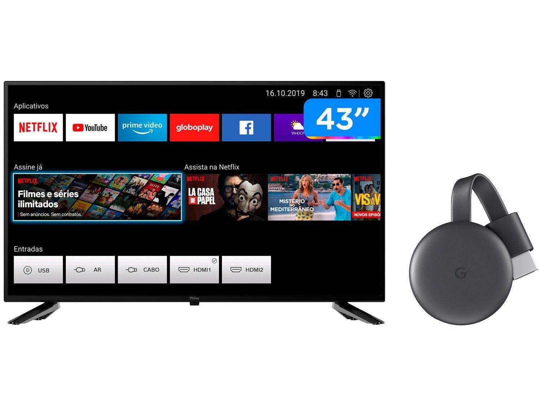 "Smart TV Full HD D-LED 43"" Philco PTV43E10N5SF - Wi-Fi + Chromecast 3 Streaming Device Google"
