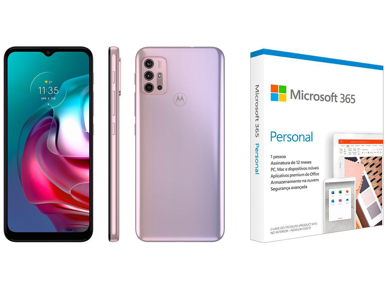 Smartphone Motorola Moto G30 128GB White Lilac 4G - 4GB RAM + Microsoft 365 Personal 1TB OneDrive