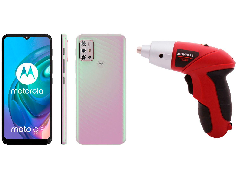 Smartphone Motorola Moto G10 64GB Branco Floral - 4G 4GB RAM + Parafusadeira Mondial