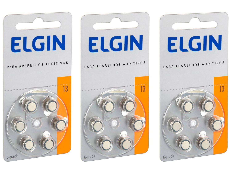 Kit Bateria para Aparelho Auditivo 13 PR48 Elgin - 18 Unidades
